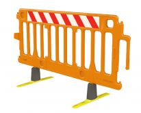 Orange Avalon Plastic Barricade With Red and White Diagonal Warning Stripes