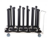 (18) Pack + (1) Transport Cart | Black Post  w/ 11'L Belts