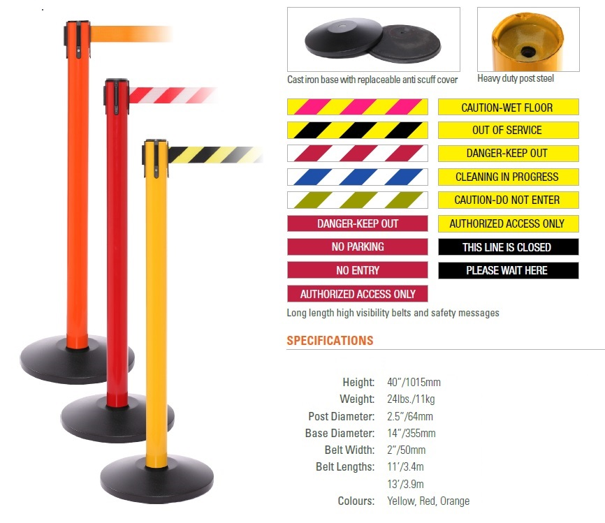 heavy duty portable retractable belt barrier