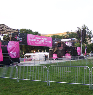 Racce for the Cure - Classic Barricades Protecting the Stage
