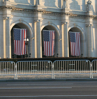 Classic Barricades protecting monuments in Washington DC
