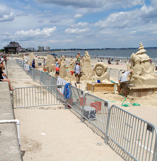 Sonco barricades protecting sand castles in Virginia beach