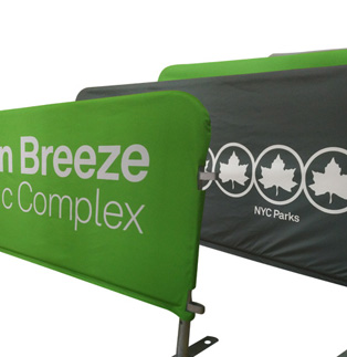 NYC Parks - One more government agency using Sonco barricade covers to beautify public areas and create brand awareness