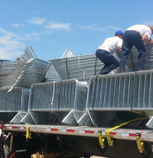 Square Stack Barricade - Truckload being unloaded by City of Myrtle