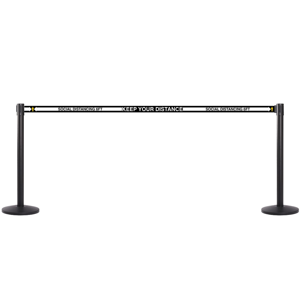 Social Distance 13'L Retractable Belt Barrier